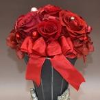 プリザードフラワー【花瓶】【バラ赤】